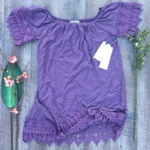 IRIS LOS ANGELES PURPLE CROCHET BELL SLEEVE DRESS